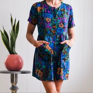 80s Vintage Short Floral House Dress/Tunic